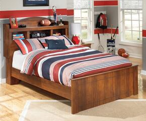 Barchan Full Bedroom Set with Bookcase Bed and Nightstand in Warm Brown