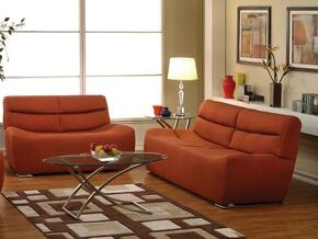 Kainda 51710SL 2 PC Living Room Set with Sofa + Loveseat in Orange Color