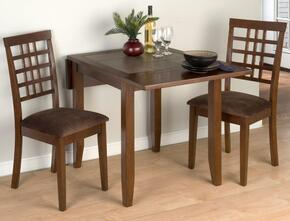 976-30SET3 Caleb Drop Leaf Table Withterra Tiles with 2 Weaveback Dining Chairs