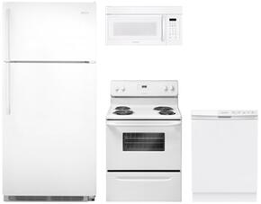 "4 Piece Kitchen package With FFEF3011LW 30"" Electric Range, FFMV162LW Over The Range Microwave Oven, FFTR1821QW 30"" Top Freezer Refrigerator and FFBD2412SW 24"" Built In Dishwasher In White"