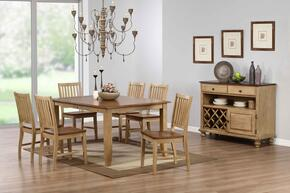 Brook Collection DLU-BR4272-C60-SRPW8PC 8-Piece Dining Room Set with Extension Dining Table, 6x Side Chairs and Server in Distressed Two Tone Light Creamy Wheat with Warm Pecan Finish