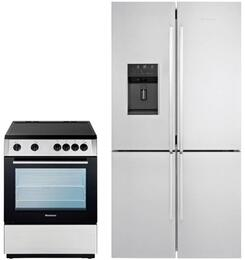 "2 Piece Kitchen Package With BERU24200SS  24"" Electric Freestanding Range and BRFD2652SS 36"" French Door Refrigerator In Stainless Steel"
