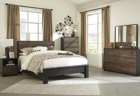 Windlore Queen Bedroom Set with Panel Bed, Dresser, Mirror, Single Nightstand and Chest in Dark Brown