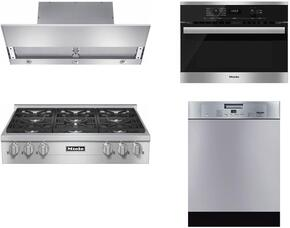 "4-Piece Stainless Steel Kitchen Package with KMR1134G 36"" Natural Gas Rangetop, DA3690 36"" Under Cabinet Hood, 22620054USA 24"" Single Wall Oven, and G4228SCUSS 24"" Full Console Dishwasher"