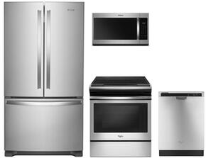 "4-Piece Kitchen Package with WRF535SWHZ 36"" Counter Depth French Door Refrigerator, WEE510S0FS 30"" Slide-in Electric Range, WMH31017HS 30"" Over the Range Microwave Oven and WDF560SAFM 24"" Built In Dishwasher in Stainless Steel"