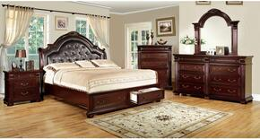 Scottsdale Collection CM7162QSBDMCN 5-Piece Bedroom Set with Queen Storage Bed, Dresser, Mirror, Chest and Nightstand in Brown Cherry Finish