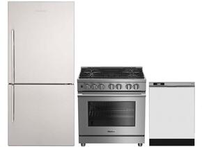 "3-Piece Kitchen Package with BRFB1812SSN 30"" Bottom Freezer Refrigerator, BDFP34550SS 30"" Freestanding Dual Fuel Range, and a free DWT25200SSWS 24"" Built In Full Console Dishwasher in Stainless Steel"