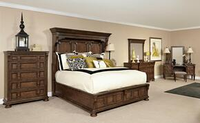 Lyla 4912QMBCDMVS 6-Piece Bedroom Set with Queen Mansion Bed, Chest, Dresser, Landscape Mirror, Vanity and Stool in Brown