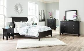 Braflin King Bedroom Set with Panel Bed, Mirror, Dresser, Single Night Stand and Chest in Black Finish