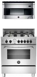 "Bertazzoni Stainless Steel 2-piece kitchen package with MAS304GASXTLP 30"" Master Series Gas Freestanding Range With 4 Burners and Free KO30PROX Professional Series Over the Range Microwave Oven"