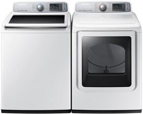 "White Top Load Laundry Pair with WA50M7450AW 27"" Washer (5.0 cu. ft. Capacity) and DVE50M7450W 27"" Electric Dryer (7.4 cu. ft. Capacity)"