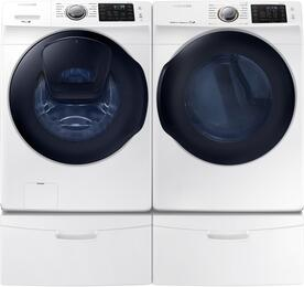 "White Front Load Laundry Pair with WF45K6200AW 27"" Washer, DV45K6200GW 27"" Gas Dryer and 2 WE357A0W Pedestals"