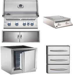"5-Piece Stainless Steel Outdoor Kitchen Package with BIPRO500RBPSS2 31"" Liquid Propane Grill, BISZ300PFT 20"" Side Burner, IMFHR 35"" Outdoor Refrigerator, N3700358SS1 Double Access Door, and N3700360 18"" Storage Drawer"
