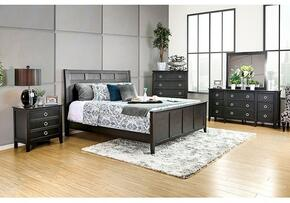 Arabelle Collection CM7481QBDMCN 5-Piece Bedroom Set with Queen Bed, Dresser, Mirror, Chest and Nightstand in Wire-Brushed Black Finish