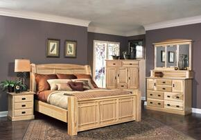 AHINT5170K4P Amish Highlands 4-Piece Bedroom Set with Arch Panel King Bed, Dresser, Mirror and Single Nightstand