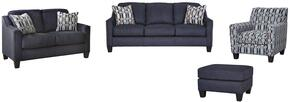 Creeal Heights Collection 80202SLACO 4-Piece Living Room Set with Sofa, Loveseat, Accent Chair and Ottoman in Midnight Blue Ink