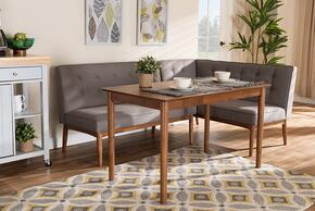 Wholesale Interiors BBT8051GREYWALNUT3PCDININGNOOKSET