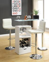 Bar Units and Bar Tables 120452TC 2 PC Bar Set with Bar Table + Bar Stools in White Color