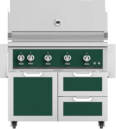 "42"" Freestanding Natural Gas Grill with GCR42GR Tower Grill Cart with Double Drawer and Door Combo, in Grove Green"