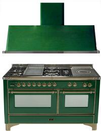 "2-Piece Emerald Green Kitchen Package with UM150FSDMPVSY 60"" Freestanding Dual Fuel Range (Oiled Bronze Trim, 5 Burners, French Cooktop) and UAM150VS 60"" Wall Mount Range Hood"