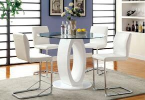 Lodia II Collection CM3825WHRPTTABLE4SC 5-Piece Dining Room Set with Round Table and 4 Bar Stools in White