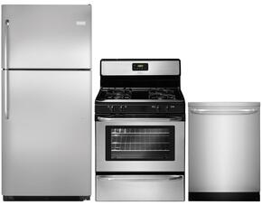 """3-Piece Stainless Steel Kitchen Package with FFTR2021QS 30"""" Top Freezer Refrigerator, FFGF3047LS 30"""" Freestanding Gas Range and FFID2423RS 24"""" Fully Integrated Dishwasher"""