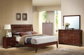 20400Q4PCSET Ilana Queen Size Bed + Dresser + Mirror + Nightstand in Brown Cherry Finish