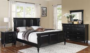 00222QBDMN Martinique 4 Piece Bedroom Set with Queen Bed, Dresser, Mirror and Nightstand, in Rubbed Black