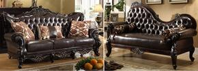 Barcelona 675-S-CH 2 Piece Living Room Set with Sofa and Chaise in Rich Cherry