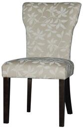 MELANIE-PRS-SC Melanie Curved Back Parson Side Chair in Satin Espresso and Neutral Floral Fab Upholstery a Set of 2