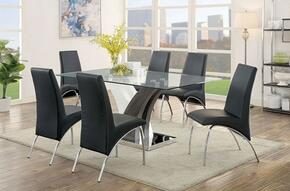 Svana Collection CM3382T6BSC 7-Piece Dining Room Set with Rectangular Table and 6 Black Side Chairs in Chrome
