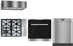 """4-Piece Stainless Steel Kitchen Package with KM3464LP 30"""" Liquid Propane Cooktop, H6680BP 30"""" Single Wall Oven, DA1280 30"""" Under Cabinet Hood, and G6365SCVISF 24""""  Full Console Dishwasher"""