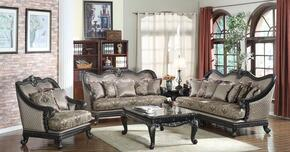 Florence717670 3 Piece Living Room Set with Sofa + Loveseat and Chair in Black Finish