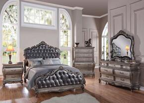 Chantelle 20534CK6PCSET Bedroom Set with California King Size Bed + Dresser + Mirror + Chest + 2 Nightstands in Antique Platinum and Silver Grey Finish