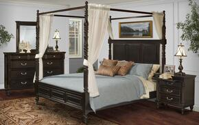 00222QCBDMNC Martinique 5 Piece Canopy Bedroom Set with Queen Bed, Dresser, Mirror, Nightstand and Chest, in Rubbed Black