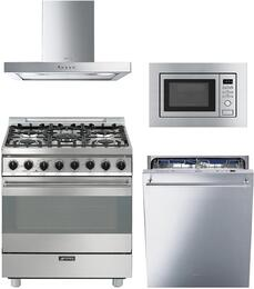 "4-Piece Stainless Steel Kitchen Package with C30GGXU1 30"" Freestanding Gas Range, KSM30XU 30"" Wall Mount Hood, MI20XU 24"" Built In Microwave, and STU8647X 24"" Fully Integrated Dishwasher"