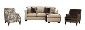 Carlinworth Collection 84401SCAC12 3-Piece Living Room Set with Sofa Chaise, Solid Accent Chair and Patterned Accent Chair