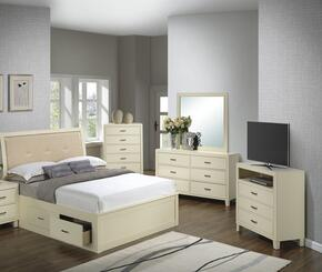 G1290BKSBCHDMTV 5 Piece Set including King Size Bed, Chest, Dresser, Mirror and Media Chest  in Beige