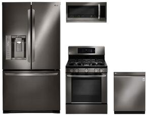 "4-Piece Kitchen Package with LFX25973D 36"" French Door Refrigerator, LRG3061BD 30"" Freestanding Gas Range, LMHM2237BD 30"" Over the Range Microwave, and LDP6797BD 24"" Built In Fully Integrated Dishwasher in Black Stainless Steel"