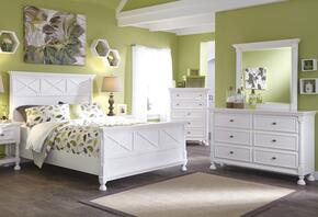 Kaslyn Queen Bedroom Set with Panel Bed, Dresser and Mirror in White