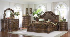 66217012BDMC2N San Mateo 6 PC Bedroom Set with Queen Size Sleigh Bed + Dresser + Mirror + Chest + 2 Nightstands in Pecan Veneer Medium Brown Finish