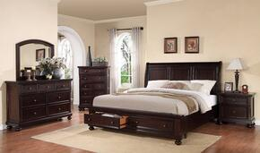 24604CKDMCN Grayson California King Size Storage Bed + Dresser + Mirror + Chest + Nightstand in Dark Walnut Finish