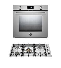 "Professional 2-Piece Stainless Steel Kitchen Package with F30PROXE 30"" Single Electric Wall Oven and QB36500X 36"" Gas Cooktop"