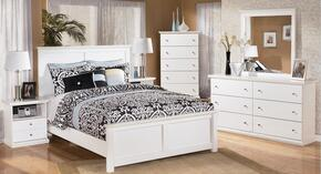 Bostwick Shoals King Bedroom Set with Panel Bed, Dresser, Mirror and Nightstand in White