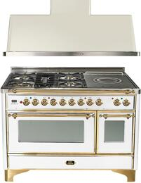 "2-Piece True White Kitchen Package with UMD100FDMPVSY 48"" Freestanding Dual Fuel Range (Brass Trim, 5 Burners, French Cooktop) and UAM120B 48"" Wall Mount Range Hood"