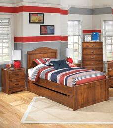 Barchan Twin Bedroom Set with Panel Bed with Trundle, Chest and 2 Nightstands in Warm Brown