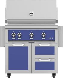 "36"" Freestanding Natural Gas Grill with GCR36BU Tower Grill Cart with Double Drawer and Door Combo, in Prince Blue"