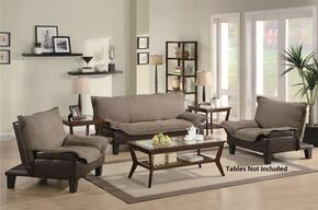 Ashington 300301SET 3 PC Living Room Set with Convertible Sofa + 2 Convertible Chairs in Brown and Dark Brown Color