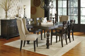 Gerlane Collection 8-Piece Dining Room Set with Dining Table, 4 Side Chairs, 2 Upholstered Chairs and Server in Dark Brown