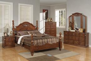 Ponderosa Collection 01720QBDMNC 5 PC Bedroom Set with Poster Bed + Dresser + Mirror + Nightstand + Chest in Walnut Finish